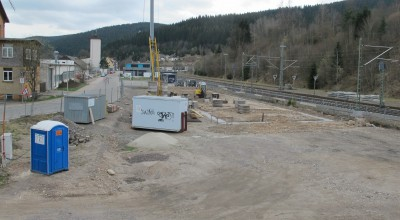 Das wichtige Fundament für die Halle. In das Köcherfundament werden später die Betonstützen für die Halle eingesetzt.